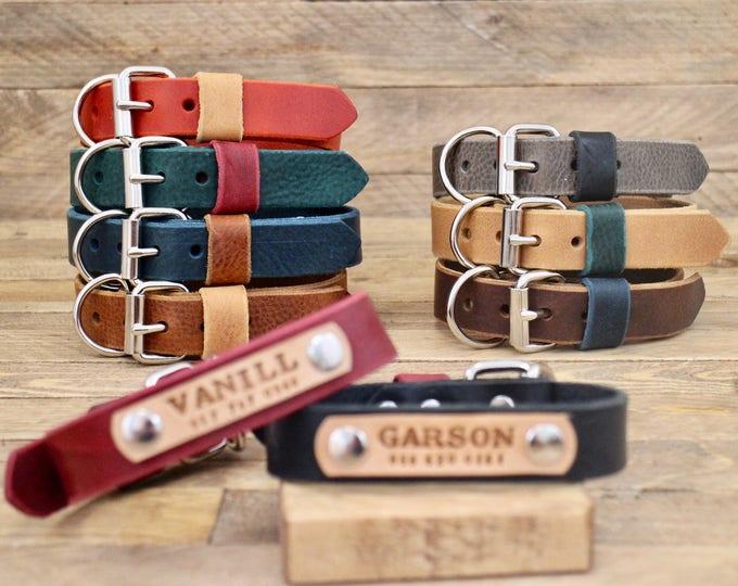 Dog collar, Leather dog collar, FREE ID TAG, Handmade leather collar, Silver hardware, Dog id, Colorful collars, Dog Leash, colour.