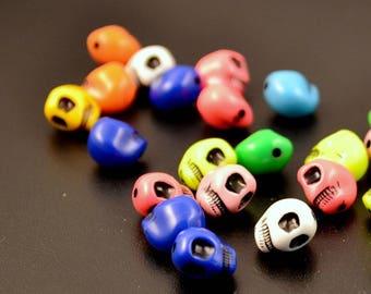 """large """"skulls"""" 20 pearls, multicolored, ref: 000809"""
