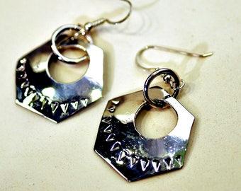 pair of chased sterling  earrings