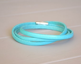 Turquoise Leather Wrap, Turquoise Bracelet, Blue Leather with Magnet Clasp, Turquoise Wrist Strap