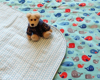 Baby Boy Flannel Quilt Reversible Whales Play Mat Blue Red Gray Nursery Decor Baby Shower Gift