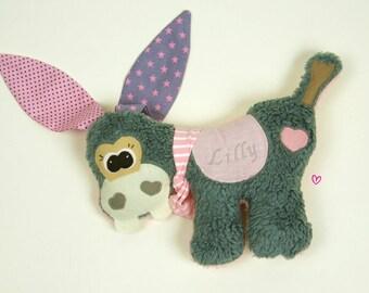 Donkey, stuffed animal, ca. 30 cm, pillow donkey, inkl.name