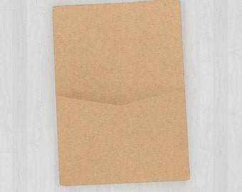 10 Flat Pocket Enclosures - Light Brown & Gold - DIY Invitations - Invitation Enclosures for Weddings and Other Events