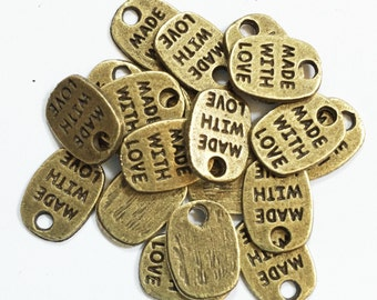 60 pcs of Antique bronze 'made with love' charm 11x8mm, gold massage charm, Bulk gold massage tags