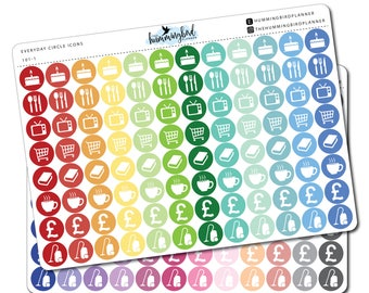 Everyday Circle Icons | 101 | Planner Stickers for MAMBI and Erin Condren Planners - Physical Item | The Hummingbird Planner