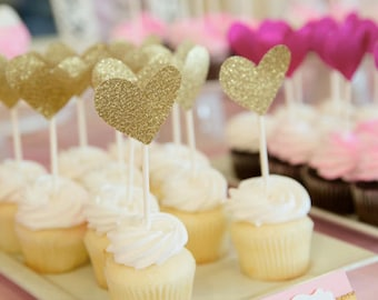 Gold Heart Cupcake toppers - (Pack of 12)