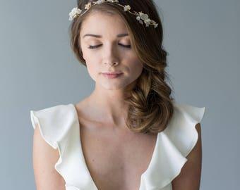 Bridal Hair Vine, Gold Wedding Hair Vine, Crystal Headband, Floral Headpiece, Beaded Headpiece, Silver Bridal Comb, Flower Hair Comb
