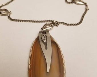 Banded agate pendant with Sterling silver chsin