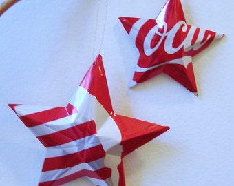Olympic Male or Female Gymnast Coke Stars Christmas Ornaments Soda Can Upcycled Coca Cola