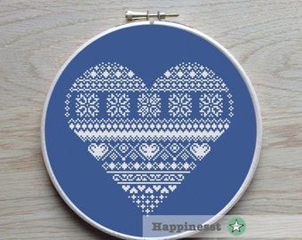 modern cross stitch heart, nordic folk art, snowflakes, winter, one color  PDF ** instant download**