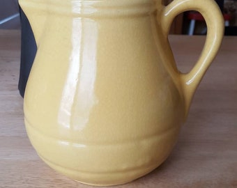 Large yellow banded pitcher, York Pottery, crazing present