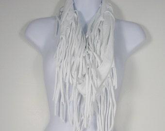 White Cotton Fringe Scarf White T Shirt Scarf Fringe Infinity Scarf  Fringe Scarf White T Shirt Scarf White Infinity Scarves Womans Scarves