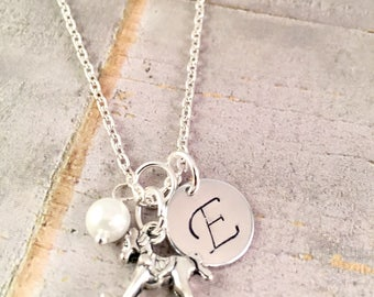 New Baby Necklace, For Mother, For Daughter, New mom jewelry, Mother Child, Mother Son Jewelry, Rocking Horse charm, push present, baby gift
