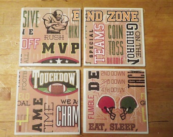 4 Football Coasters, Football Decor, Gift for Coach, Coach's Wife, Player, Fan, Man Cave, Game Room, Father's Day, Guys, Men, Beer Coasters