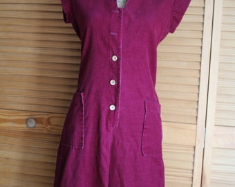 Vintage/burgundy/button up/corduroy/jumpsuit/coveralls/romper. Cute! with two pockets! 1970s. You Babes.
