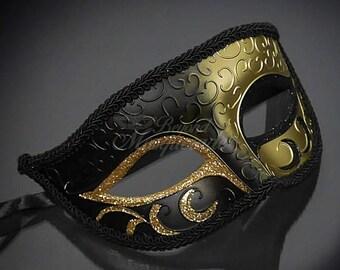 Mens Masquerade Mask, Gold Black Masquerade Mask, Roman God Mask, Greek God Mask, Masquerade Mask Men, Black and Gold Mask, Black Gold Mask