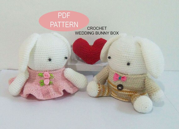 Crochet Wedding Bunny Box Pdf Pattern Patternstutorials Diy