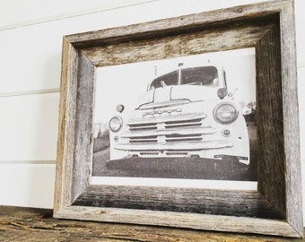 Old Dodge Truck Rustic Farmhouse Barnwood Framed Art Black and White Photography
