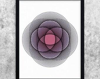 Pink and Purple Abstract Art, Geometric Art Print, Modern Minimal Wall Art, Instant Download Printable Art, Office Decor, Digital Art Print