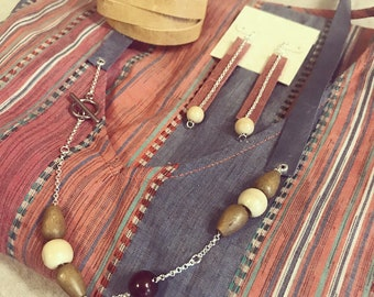 Wood Bead Necklace <Seashore Necklace>