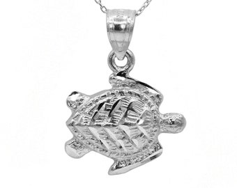 14k White Gold Turtle Necklace