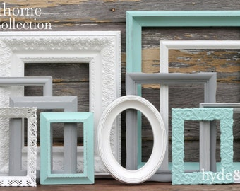 Shabby Chic Decor / Aqua, Grey And White Picture Frame Set / Nursery Decor /