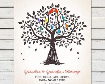 GRANDKIDS FAMILY TREE, Family Tree with Childrens Names, Gift for Grandparents, Grandma & Grandpa Gift, Anniversary Gift, Gift for Nana
