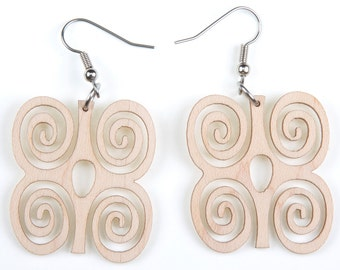 "African Symbol of ""Strength"", Laser Cut, Wood Earring"