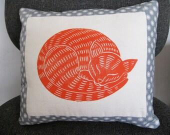 Marmalade Cat Pillow, original block printed pillow