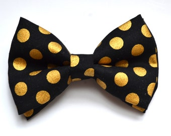 Black bow tie with Gold Dot printed Bow Tie, boy bow tie, baby bow tie, adult bow tie, men's bow tie