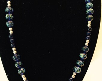 Blue speckled glass necklace