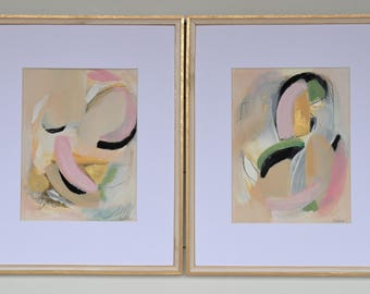 Pair of Works on Paper, Acrylic Painting, Neutral Abstract, Abstract Paintings, Medium Abstract Art, Wall Art Framed