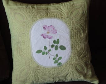 Sage Green With Pink Rose Decorative Quilted Pillow, Throw Pillow, Home Decor