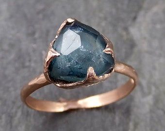 Partially faceted blue Tourmaline 14k Rose Gold Engagement Ring One Of a Kind Gemstone Ring byAngeline 1086