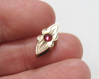 Small Antique Victorian Slide - Red - Rose Cut Stone - Gold Filled - C1900 - No Chain