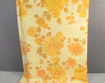 Vintage queen flat sheet, yellow and orange flowers, vintage sheet fabric, floral sheets, floral bedding, mid century modern queen sheet