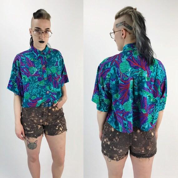 90's Tropical Print Silk Button Up Cropped Top - Hawaiian Print Blue Purple Beach Summer Vacation Short Sleeve Button Up - VTG Collared Top