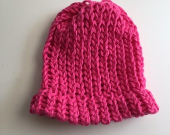 Organic Cotton Hand Knit Hot Pink Magenta Baby Hat