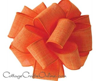 "Fall Wired Ribbon, 1 1/2"", Orange Faux Linen - THREE YARDS  -  ""Divine"" Thanksgiving, Halloween, Spring Wire Edged Ribbon"