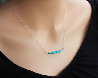 turquoise bar necklace, sterling turquoise bar necklace, turquoise layering necklace, turquoise bar layering necklace, turquoise bar