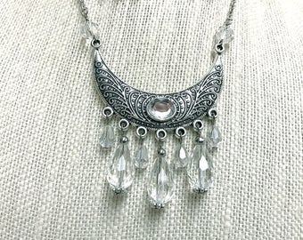 Silver and Crystal Pendant Necklace and Chandelier Earrings Boho Chic Bohemian Hippie Style Jewelry