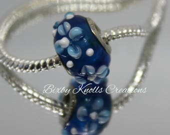 Blue with Blue Flowers Bead for European Charm Bracelets/Necklace
