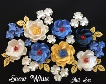 SNOW WHITE Paper flowers set/Disney princess theme party/Paper flower wall/Wedding/Themed party decor/Baby shower/Sweet table/Dessert table