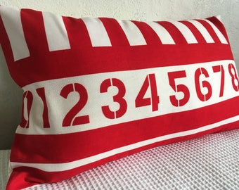 Red & White Striped Pillow with Numbers