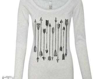 Womens ARROWS Long Sleeve Scoop Neck -  Tri Blend t shirt [+Colors] S M L XL XXL