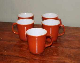 Vintage Pyrex Orange /Rust Mugs - Set of 5