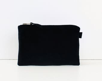 Black Suede Bag // TClutch Bag, Clutch Purse, Cosmetic Bag, Gift For Her, Large Suede Bag, Leather Bag, Suede Clutch, Suede Clutch Bag