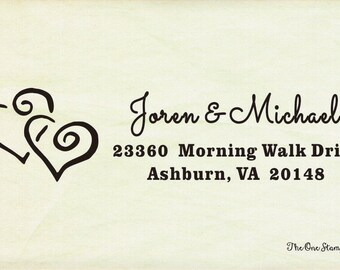 Custom wedding return address Stamp- Two Hearts Joined Return Address Stamp - Couple in Love - Calligraphy - Personalized Gift -