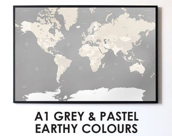 Grey world map etsy quick view gumiabroncs Gallery