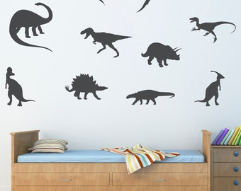 Dinosaur Wall Decal - Extra Large Set of 10 - Dinosaur Stickers - Boy Bedroom Wall Decor